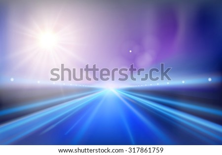 Highway - sunrise. Vector illustration. - stock vector