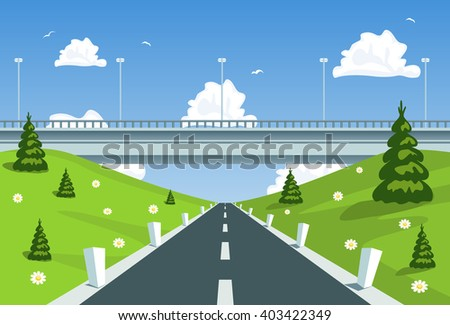 Highway under the bridge. Vector - stock vector