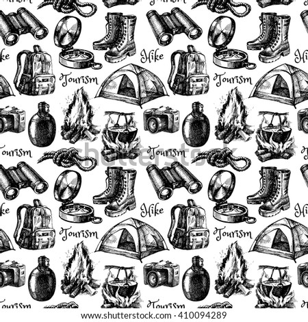 Hike and camping tourism hand drawn vintage seamless pattern. Vector illustration - stock vector