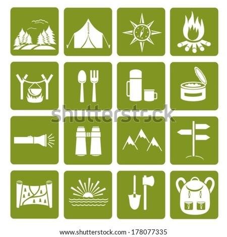 Hike icons. Vector set.  EPS-10 (non transparent elements,non gradient).  - stock vector