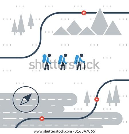 Hike, outdoor activities illustration - stock vector
