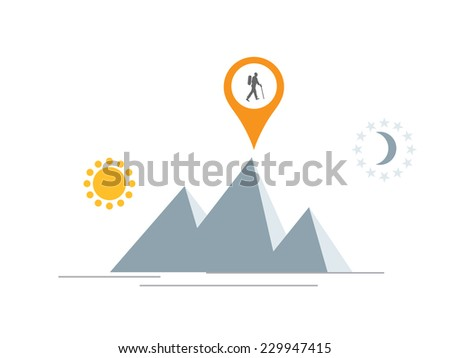 hiker icon in map pointer  - stock vector
