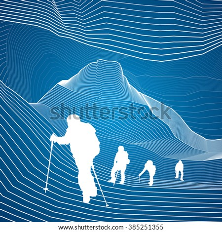Hikers in the mountains, climbing in tandem, extreme sport, white lines, abstraction composition, vector design art
