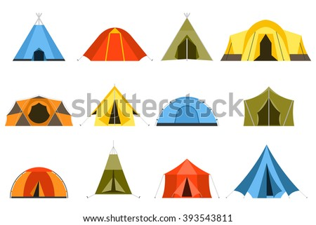 Hiking and c&ing tent vector icons. Triangle and dome flat design tents collection in green  sc 1 st  Shutterstock & Tent Stock Images Royalty-Free Images u0026 Vectors | Shutterstock