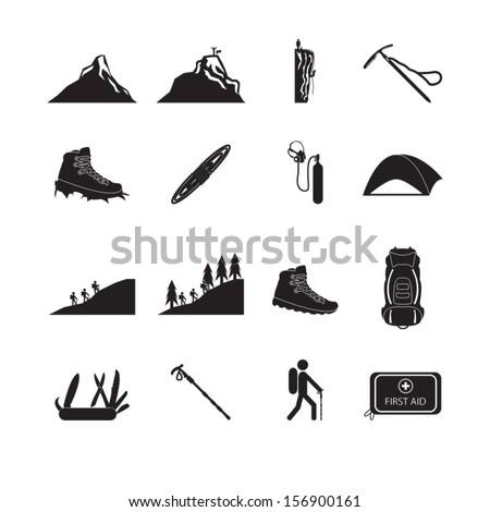 Hiking and mountain climbing icon set - stock vector