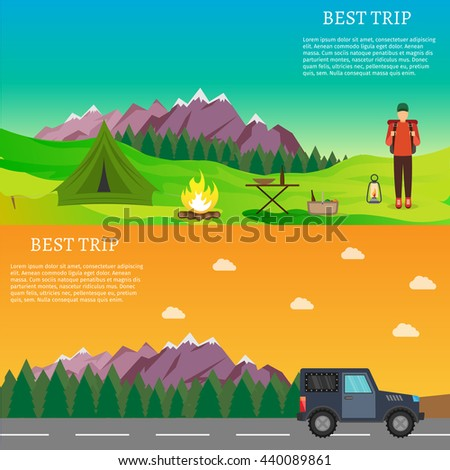 Hiking and outdoor set flat camping travel vector illustration - stock vector