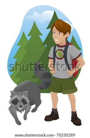 Hiking Boy with Raccoon - vector - stock vector