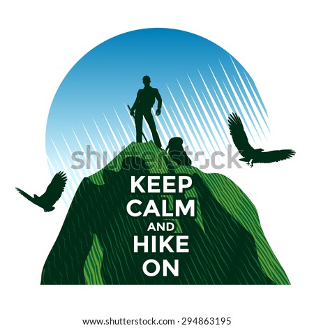 Hiking concept, man standing on the top  of mountain - stock vector