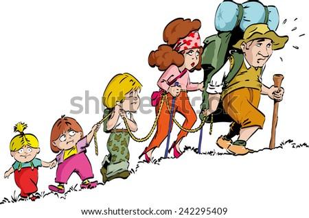 Hiking - family  - stock vector