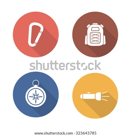 Hiking flat design icons set. Travel and camping white silhouette illustrations. Mountain climbing equipment long shadow round symbols. Tourist backpack and carabiner.Vector infographics elements - stock vector