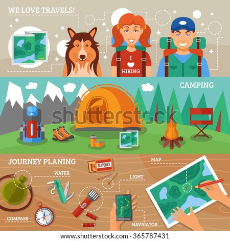 Hiking flat horizontal banners collection with journey planning hiking travelers and camping icons vector illustration  - stock vector