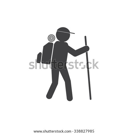 hiking icon - stock vector