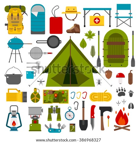 Hiking Icons Set Camping Equipment Vector Stock Vector ...