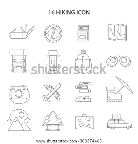Hiking line black white icons set with compass map and car flat isolated vector illustration  - stock vector