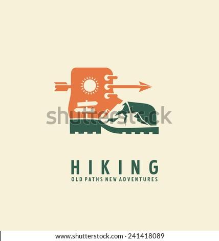 Hiking logo design template. Adventure symbol vector concept. Boot with landscape in negative space. Unique icon idea for recreation theme. - stock vector