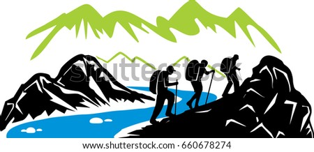 hiking mountain river stock photo photo vector illustration rh shutterstock com