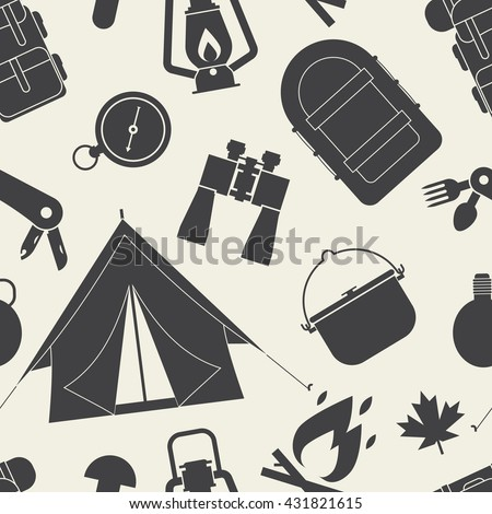Hiking outline pattern. Camping seamless background of camp and hike elements silhouette. Summer adventure tourism tiling backdrop.