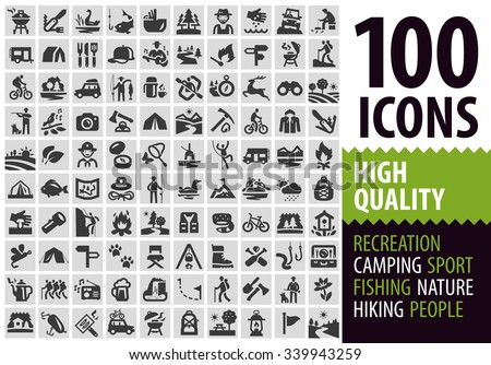 hiking set black icons. signs and symbols - stock vector