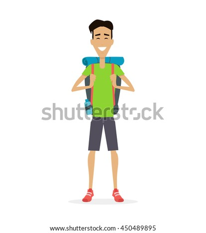 Hiking with backpack illustration. Summer vacation in road concept illustration. Smiling young man in shorts, with backpack full of supplies, ready for trip. Isolated on white background.
