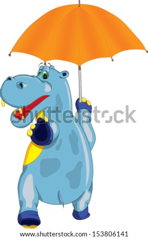 hilarious hippo comes with an umbrella in his hand