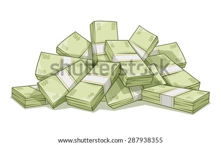 Hill of bundles with money. Business and banking concept. Eps10 vector illustration. Isolated on white background. Cash dollars money pile. Currency bills. - stock vector