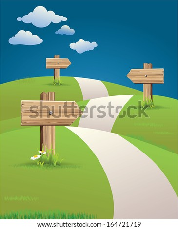 hill path with road signs - stock vector