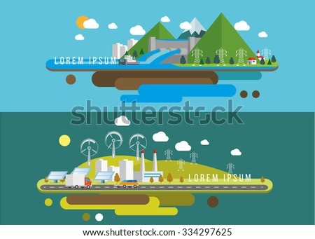 Hills landscape and factory Eco flat illustrations  Vector eps10. - stock vector