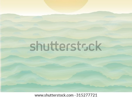 hills shiluette with fog and sun vector illustration - stock vector