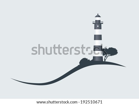 hillside black striped lighthouse vector illustration - stock vector
