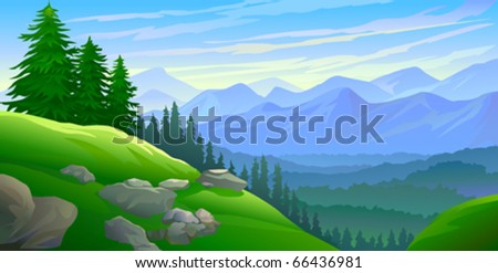 Hillside pine trees and distant mountains - stock vector