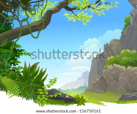 Hilly Amazon Rain Forest - stock vector