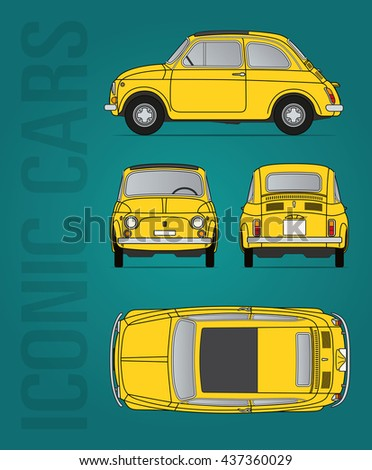 Hilversum, The Netherlands - June 15, 2016: Fiat 500 - 1957-1975, vector illustration - illustrative editorial - stock vector