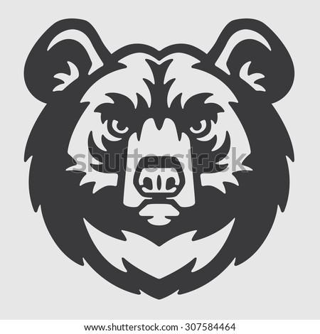 himalayan bear head logo mascot emblem stock vector