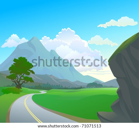 Himalayan terrain and winding road - stock vector