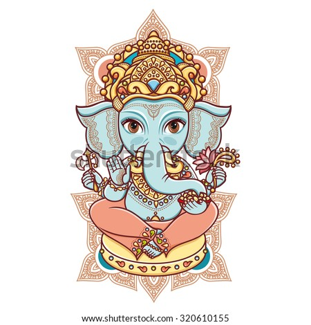 Hindu elephant head God Lord Ganesh. Hinduism. Happy Ganesh Chaturthi. Vector elements isolated. Paisley background. Indian, Hindu motifs. Henna tattoo, textiles, sticker. Cheerful colorful style.  - stock vector