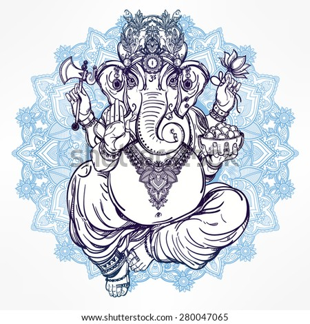 Hindu elephant head God Lord Ganesha, patron of arts,  sciences. Vintage decorative vector elements isolated. Hand drawn paisley background. Indian, Hindu motifs. Tattoo, yoga, spirituality, textiles. - stock vector
