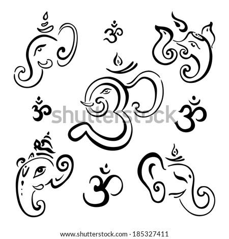 Hindu God Ganesha. Vector hand drawn illustration set. - stock vector
