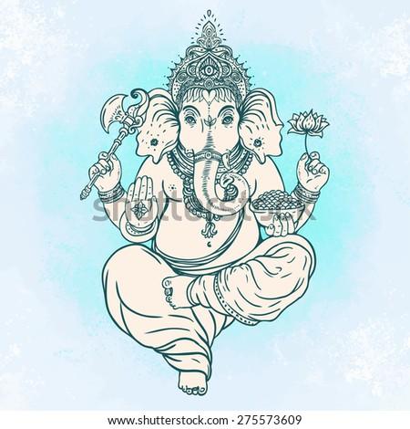 Hindu god Ganesha. Vector illustration - stock vector