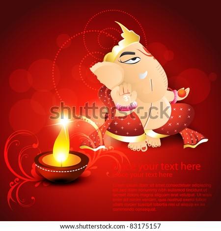 hindu god lord ganesh on artistic background with diya - stock vector