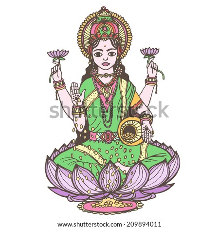 Hindu goddess lakshmi of wealth, prosperity, fortune, and the embodiment of beauty. Vector hand drawn illustration. - stock vector
