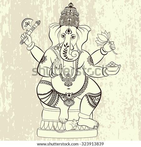 Hindu Lord Ganesha. Ornament God Ganesha. Vector illustration for any kind of design, birthday and other holiday, medallion, yoga, india, arabic - stock vector