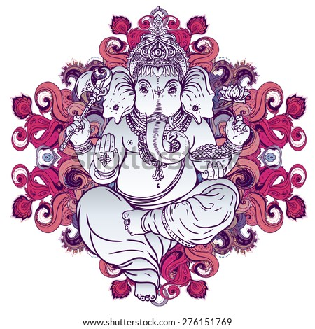 Hindu Lord Ganesha over ornate colorful mandala. Vector illustration. - stock vector