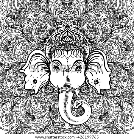 Hindu Lord Ganesha over ornate mandala pattern. Vector illustration. Vintage decorative. Hand drawn paisley background. Indian motifs. Tattoo, yoga, spirituality. Coloring book pages for adults  - stock vector