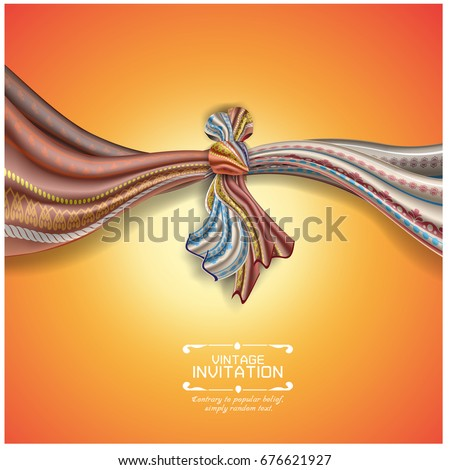Hindu Wedding Knot Tied With Man And Woman Vector Illustration Of Indian Invitation Card