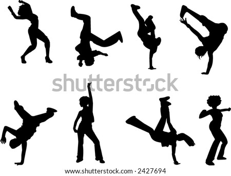 hip hop and breakdance silhouettes - stock vector
