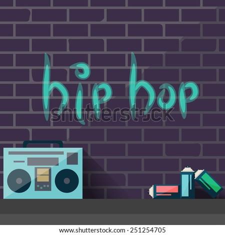 Hip hop graffiti on a brick wall - stock vector
