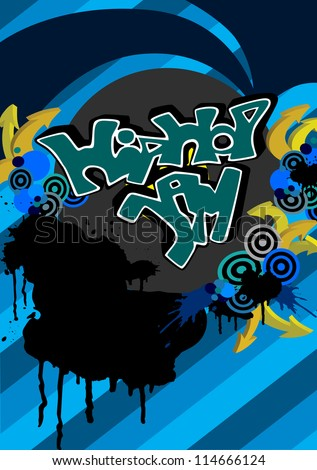 Hip Hop Jam Graffiti Modern Vector Background