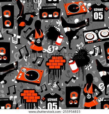 Hip Hop Street Seamless Pattern Background is a vector illustration novelty print pattern background that is inspired by hip hop culture/street music. It's youthful, fun and funky. - stock vector