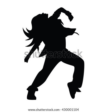Hip Hop Woman Dancer Vector Silhouette Isolated On White Background