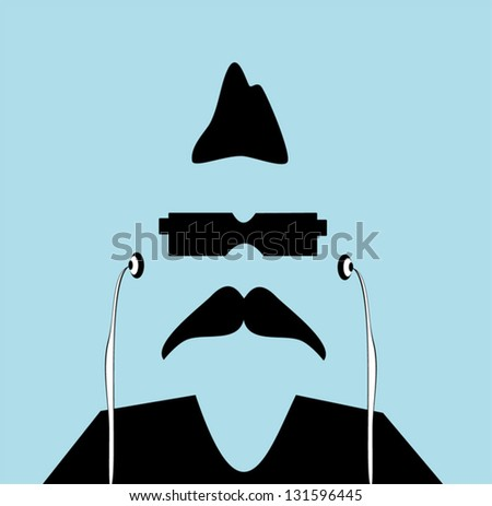 hip man with mohawk - stock vector